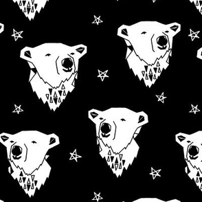 polar bear // black and white scandi nursery bear cute fabric for kids  polar bears