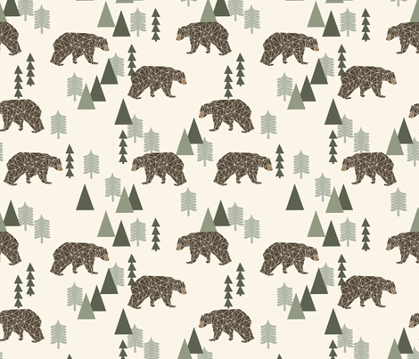 bear // camping geometric trees woodland forest boys outdoors green illustration for boys room fabric by andrea_lauren on Spoonflower - custom fabric