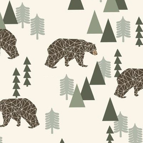 bear // camping geometric trees woodland forest boys outdoors green illustration for boys room