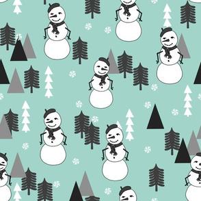 Snowman - Pale Turquoise by Andrea Lauren