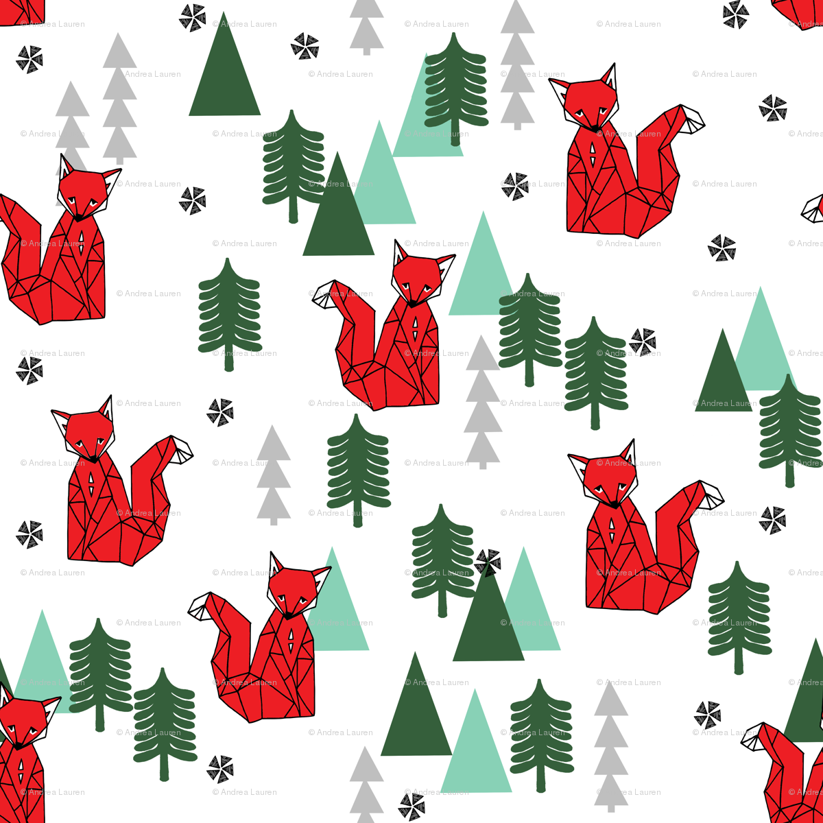 Christmas Fox - White background by Andrea Lauren wallpaper ...
