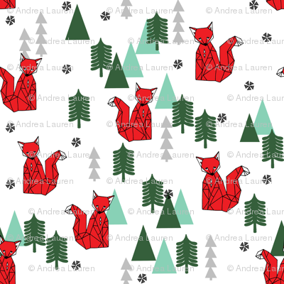 Christmas Fox - White background by Andrea Lauren