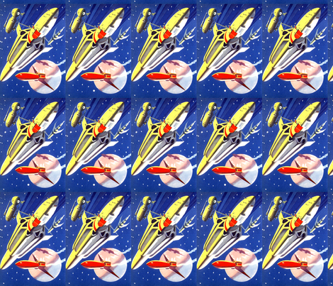 Vintage retro kitsch science fiction futuristic spaceships for Universe fabric