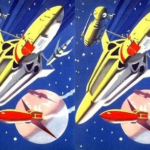 vintage retro kitsch science fiction futuristic spaceships rockets planets space galaxy shuttle pop art UFO stars wars universe