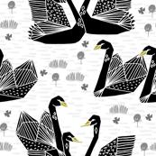swans // black and white birds bird swan pond girls sweet baby nursery