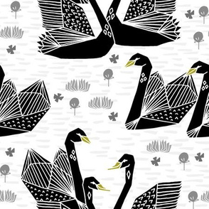 swans // black and white birds bird swan pond girls sweet baby nursery