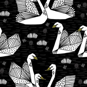 swans // black and white swans black background girls sweet lily water lilies ponds black and white baby nursery