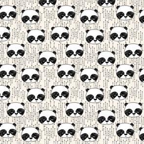 panda // mini panda head cute panda faces panda bear kawaii illustration scandi panda fabrics