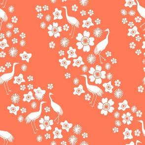 Crane Stripes - Bright Peach by Andrea Lauren