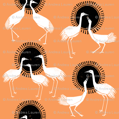 Cranes - Orange by Andrea Lauren