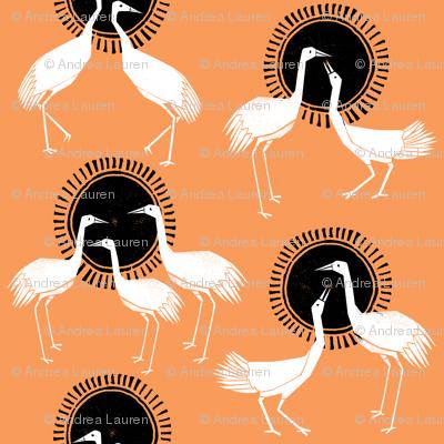 Cranes - Orange by Andrea Lauren