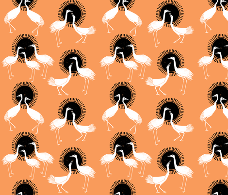 Cranes - Orange by Andrea Lauren fabric by andrea_lauren on Spoonflower - custom fabric