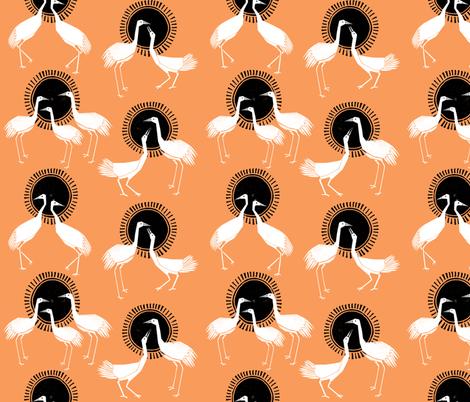 Cranes - Orange by Andrea Lauren fabric by andrea_lauren on Spoonflower - custom fabric