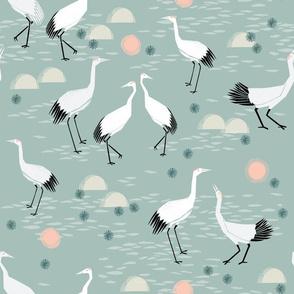 Cranes - Celadon by Andrea Lauren