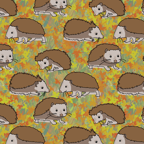 Hedgehog Autumn fabric by eclectic_house on Spoonflower - custom fabric