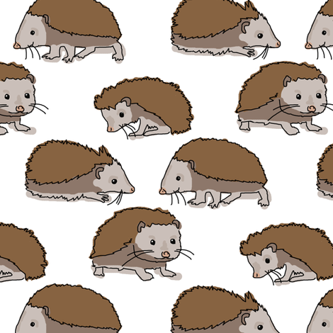 Hedgehog on White fabric by eclectic_house on Spoonflower - custom fabric