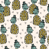 pineapples // sweet pineapple tropical print summer sweet kids off-white
