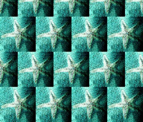 Starfish Crystals Aqua fabric by artbylindalou on Spoonflower - custom fabric