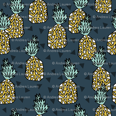 pineapple // sweet tropical pineapples pattern print blue pineapple tropical print