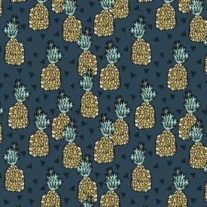 pineapple // sweet tropical pineapples pattern print blue pineapple tropical print