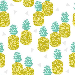 pineapple // pineapples fruits fruit summer tropical exotic food block print
