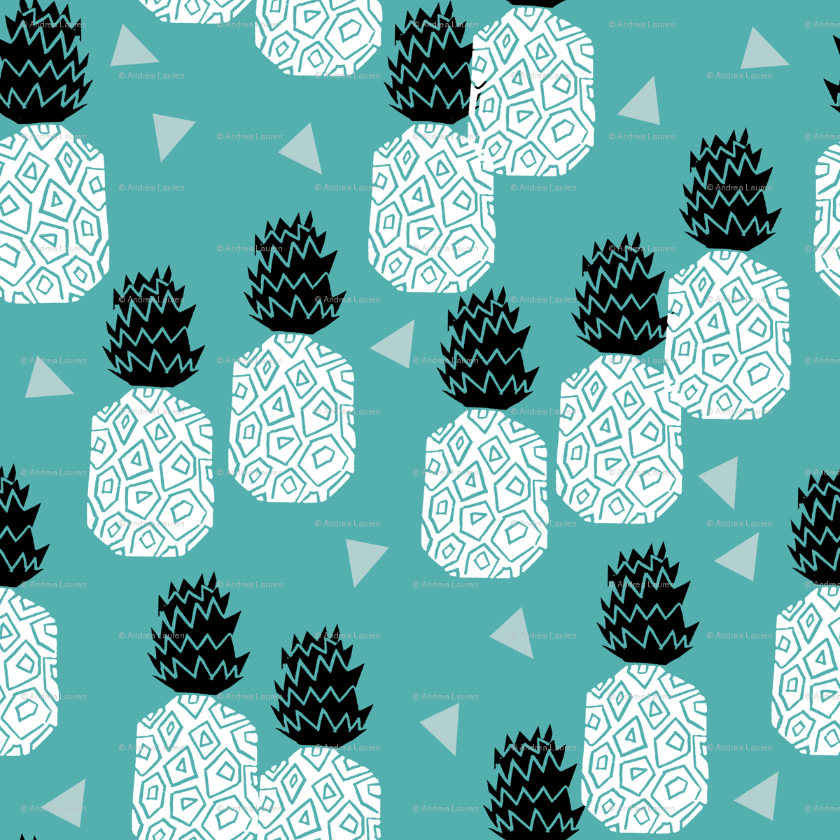 Block Print Wallpaper pineapple // block print linocut sweet blue pineapple summer