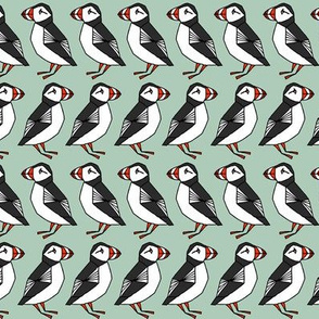 Puffin fabric // blue mint green bird design uk fabric by  Andrea Lauren