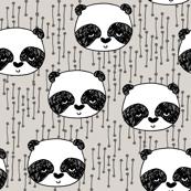 Panda - Light Grey background by Andrea Lauren