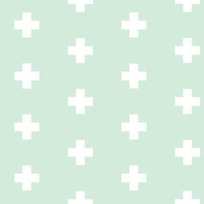 Small white swiss cross on clean mint