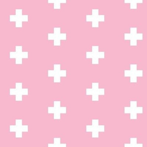 Small white swiss cross on medium cool pink