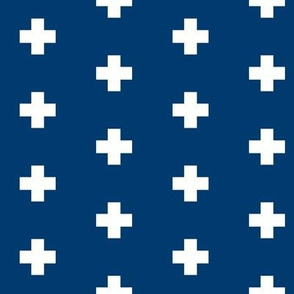 Small white swiss cross on navy