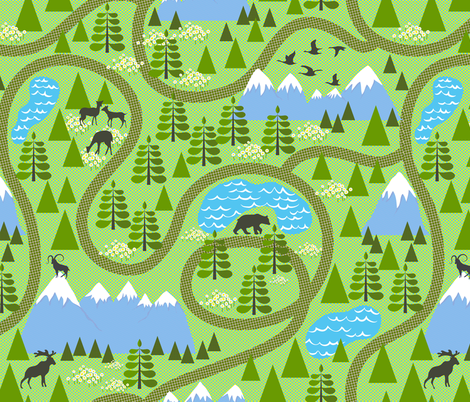 Come hike with me fabric by vo_aka_virginiao on Spoonflower - custom fabric
