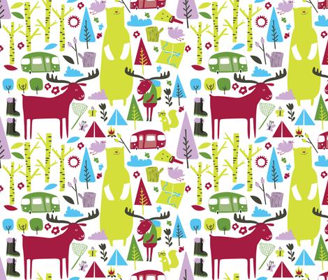Hiking maroon fabric by laurawrightstudio on Spoonflower - custom fabric
