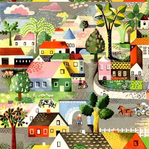 vintage retro kitsch folk art towns villages horse carriages cottage trees houses cows ducks people colorful whimsical rustic shabby chic country