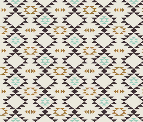 Navajo - Golden Brown Mint fabric by kimsa on Spoonflower - custom fabric