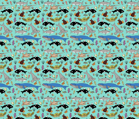 Leviathan sea creature friends  fabric by marion_mwr on Spoonflower - custom fabric