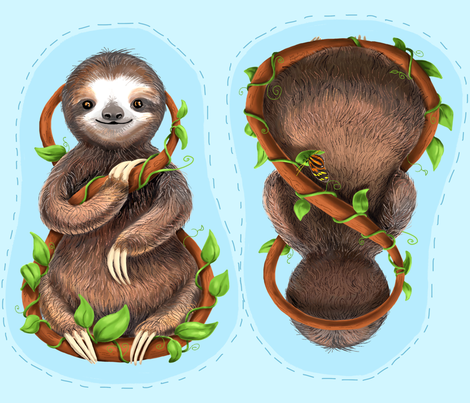 Sloth Plush Pillow fabric by vinpauld on Spoonflower - custom fabric