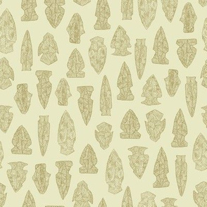 arrowheads in tan and cream