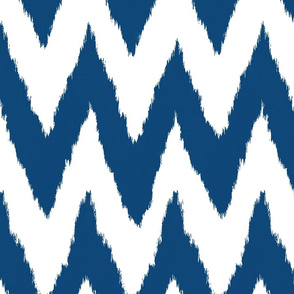 Ikat Chevron in Navy Blue