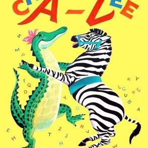 vintage kids kitsch crocodiles zebras alligators infants children nursery children toddlers folk rhymes Anthropomorphic fairy tales dancing dance