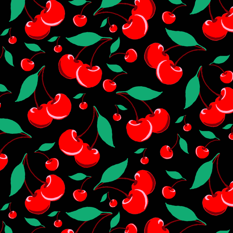 Cherry - Black fabric by vickythorndale on Spoonflower - custom fabric