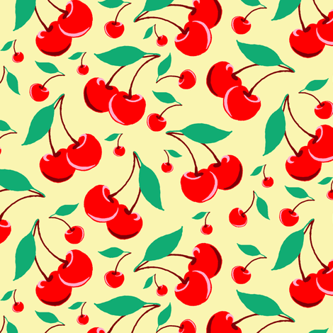 Cherry - Yellow fabric by vickythorndale on Spoonflower - custom fabric