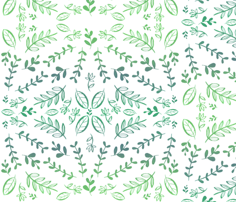 Flora Greenery fabric by ellolovey on Spoonflower - custom fabric