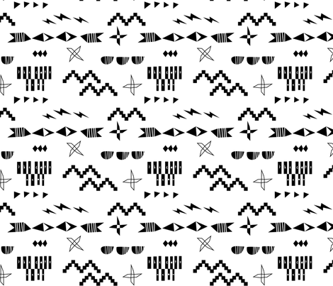 The Cat's Meow - Black on White fabric by elliewhittaker on Spoonflower - custom fabric