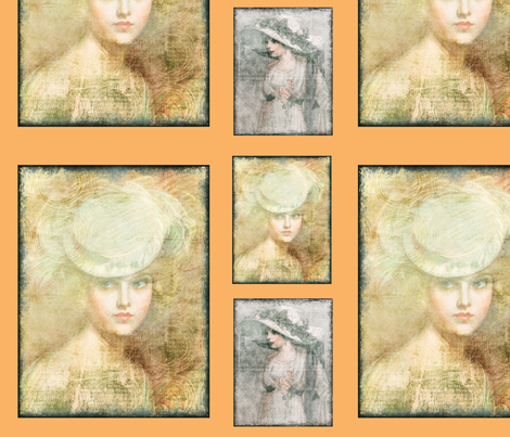Lady_Portraite_Collage1 fabric by jamiesquilting on Spoonflower - custom fabric
