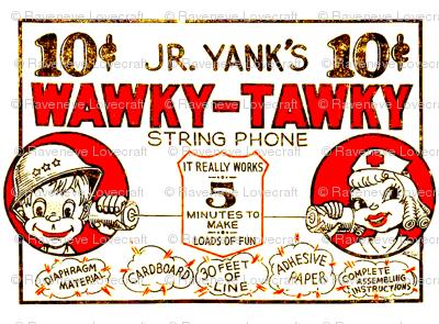 vintage kids kitsch walkie talkies tin can cup phones strings soldiers nurses children toys telephones advertisements cartoons comics pop art ads