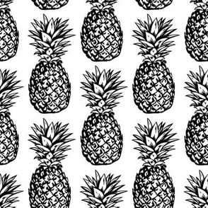 classic pineapples - black on white, small