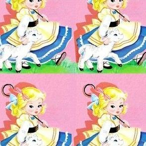 vintage kids kitsch mary little lambs sheep nursery rhymes children girls fairy tales toddlers shepherdess whimsical stories story books bo peep