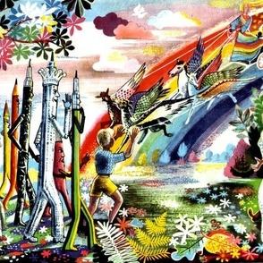 vintage retro fantasy rainbows chariots Pegasus princess queen gardens trees flowers stationery boys fairy tales rulers birds pencil brush compass