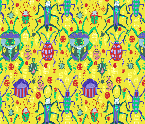 Beetling About fabric by slumbermonkey on Spoonflower - custom fabric